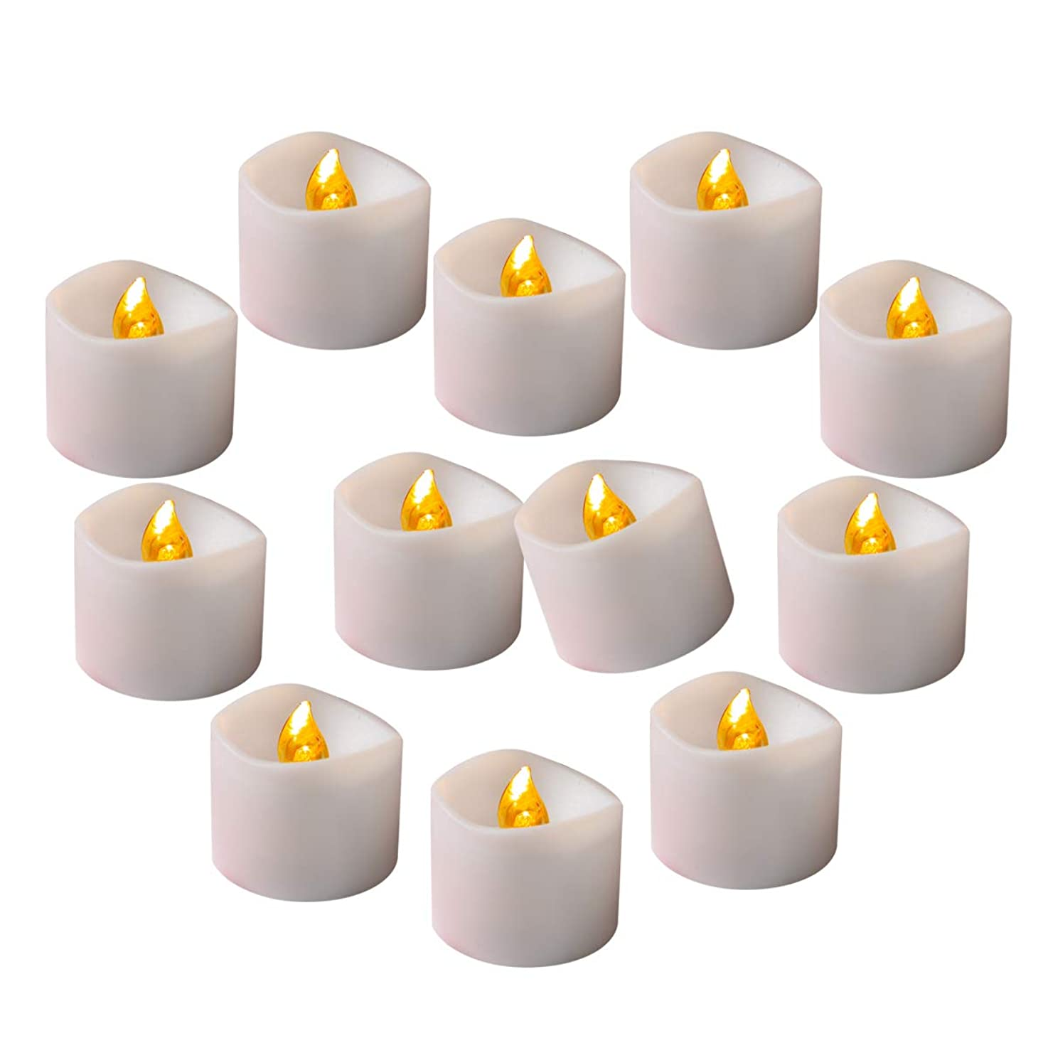 Cozeyat Flameless LED Tea Lights with Timer (6 Hours on, 18 Hours Off) Flickering Candles Amber Yellow 24pcs for Wedding Reception, Christmas Party, Window, Fireplace, Lantern, Craft Project wrhahlheeagbi1