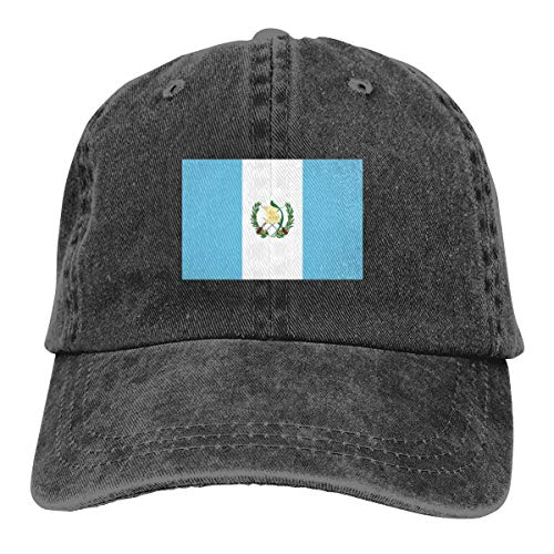 REAL PEAZ Gorra de béisbol de algodón lavado, color sólido, ajustable, diseño de bandera de Guatemala
