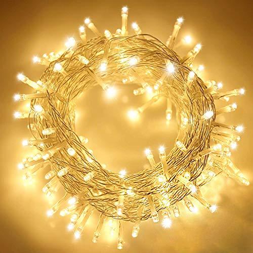 ANKOUJA Lichterkette LED Innen Außen Warmweiß 100er Verbindlich & Memroyfunktion für Weihnachten Zimmer Bett Hochzeit Party Schlafzimmer Weihnachtsbaum 31V-8 Funktion Partylicherkette