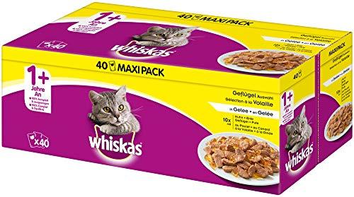 Whiskas 1 + Katzenfutter – Geflügel-Auswahl in Gelee – Hochwertiges Feuchtfutter für ausgewachsene Katzen – 40 Portionsbeutel à 100g
