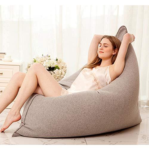 QMKJ Laine Chanvre Tissus Beanbag Chaise énorme lit Grand canapé Confortable Lounger pour Les Enfants Adultes Adolescents intérieur extérieur 110CM * 140CM,Gray