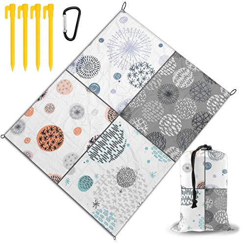 Best Price Outdoor Picnic Blanket 67x57inch Hand Drawn Circle Foldable Waterproof Extra Large Picnic...