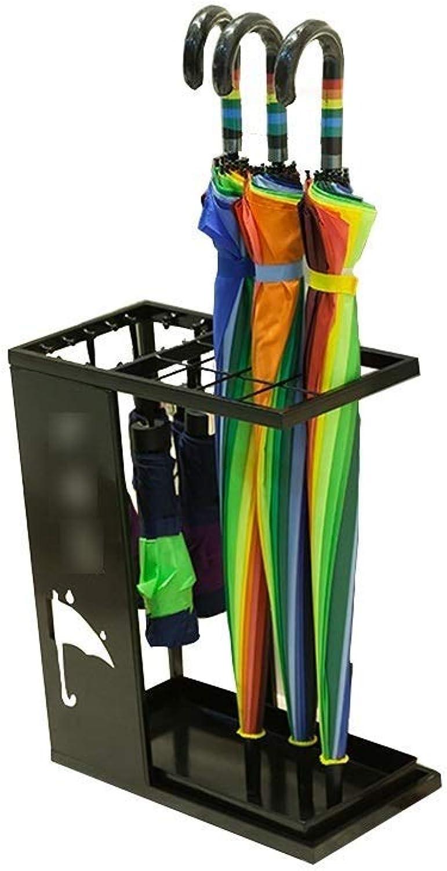 Umbrella Stand, Metal Umbrella Stand Household Umbrella, Drain Rack, Storage Shelf (color   Black)