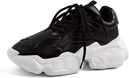 YAN paniers en Cuir Sport Chaussures antidérapantes Lace Up Chaussures de Sport Fitness et Cross Training Chaussures Femmes Blanc Noir,noir,36