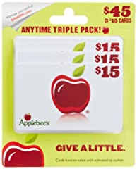 Contains 3 plastic gift cards in your choice of design. Good for any occasion - with Applebee's Gift Cards, it's the taste that counts! Redeemable at Applebee's in the U.S. and Canada. No returns and no refunds on gift cards.
