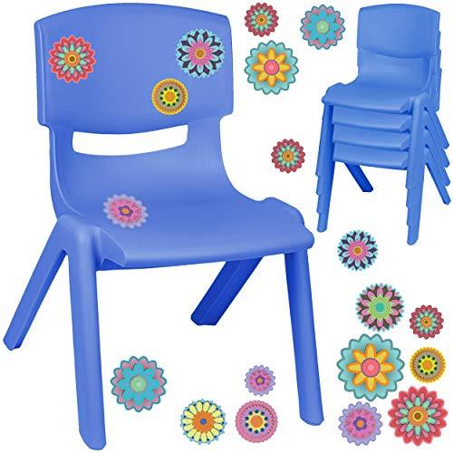alles-meine.de GmbH Kinderstuhl / Stuhl - Motivwahl - blau + Sticker - Bunte Blumen & Blüten - inkl. Name - Plastik - bis 100 kg belastbar / kippsicher - für INNEN & AUßEN - 0 - ..