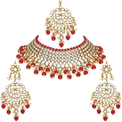 Aheli Gargantilla de imitación Kundan de perlas blancas con pendientes Maang Tikka India tradicional Bollywood étnico nupcial conjunto de joyas para mujeres