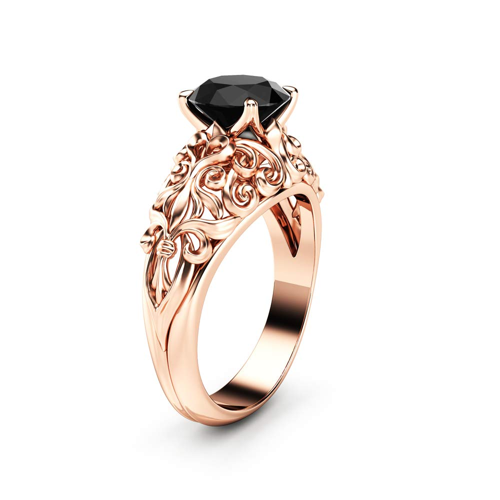 Black It is very popular Diamond Engagement Ring 14K Now free shipping Rose Solitaire Filig Gold