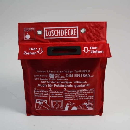 Löschdecke 1,6m x 1,8m in Tasche zum Aufhängen mit Grifftaschen zur sicheren Handhabung