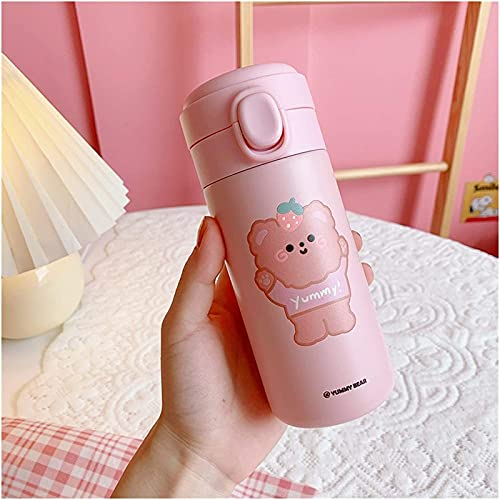 QAZW Taza para Beber Botella de Agua de Acero Inoxidable Dibujos Animados Lindo Termo Portátil para Niña Botellas de Agua Botella de Agua de Alta Capacidad para,Pink-300ml