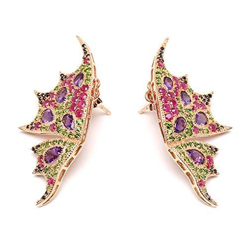 Pendientes para mujer de plata de ley 925 semipreciosas con piedras preciosas y chapado en oro rosa.