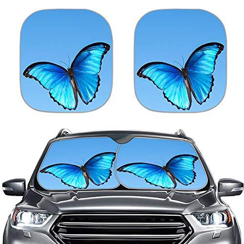 Amzbeauty Bonito parasol para parabrisas de coche, diseño de mariposas, color azul
