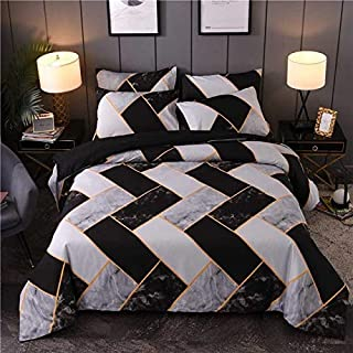 JZCXKJ 12 Colors Bedding Set Nordic Modern Style Marble Pattern Printed Duvet Cover SetDouble Full Queen King Size Bed Linen 8 Size 200x200cm (3Pcs) 1