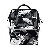 White Feather Art School Backpack Bookbag Travel Shoulder Stylish Large Capacity Diaper Bags