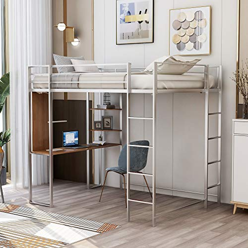Metal Full Loft Bed with Desk and 2 Shelves for Kids Teens, High Loft Bed with Safety Rails and Ladder for Bedroom Dorm, No Box Spring Need, Space-Saving Design (Silver)