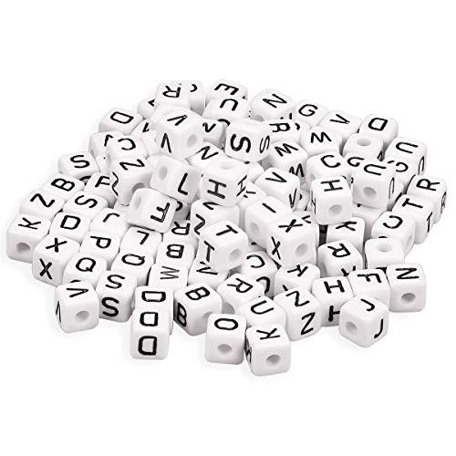 YouFia Acryl Buchstaben Wuerfel Perlen Spacer Beads Zum Basteln 10x10mm,300 STK