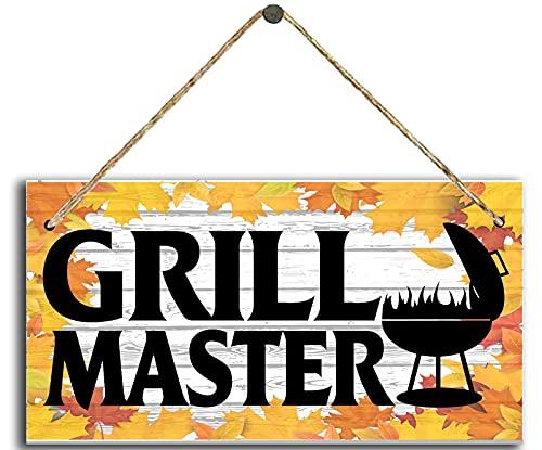 Dreacoss Cartel de madera rústica para colgar en la pared, con letrero de madera para barbacoa o cocinar, papá, hamburguesa, perros calientes, tablón de 10 x 5 pulgadas