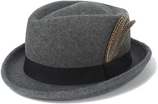 HaiNing Zheng Outdoor Fedora Hat Men's Hat Vintage Felt Wool Feather Autumn Winter Hat Wide-brimmed Hat Jazz Knight Hat Hood Men's Fashion Women