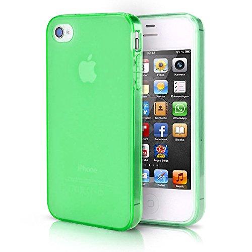 doupi PerfectFit TPU Custodia per iPhone 4 4S, Tappi di Polvere incorporatin Mat Trasparente Cover, Verde