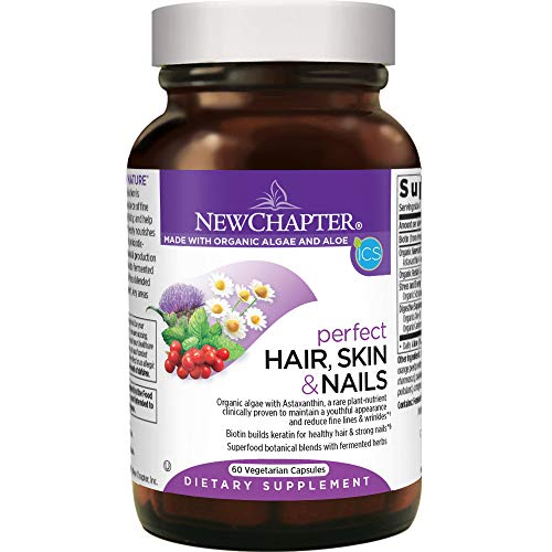 New Chapter Hair Skin & Nails Vitamins with Fermented Biotin + astaxanthin - 60 Ct Vegetarian Capsule (Packaging May Vary) New Chapter