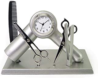 Sanis Enterprises Hair Dresser Clock, 3.75 by 3-Inch, Silver