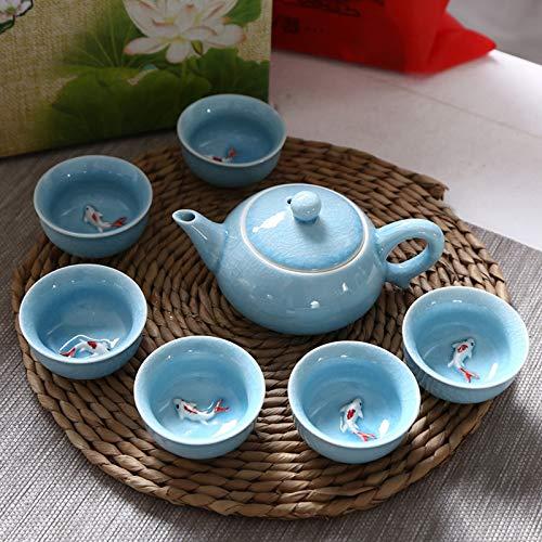 CUTEY Chinesischer Kung-Fu-Tee-Set Handgemalte Keramik (6 Tassen Mit Teekanne) Können Mit Duftendem Tee, Grünem Tee, Schwarzer Tee Usw, Grüner Teetasse KOI-Design Entworfen Werden,Blau