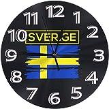 Reloj De Pared Verige Suecia Bandera De Suecia Reloj Número Redondo Reloj De Pared Números Arábigos Reloj Silencioso Sin Tictac Reloj Decoración Colorido Living Cocina Escuela 9.5 Pulgadas