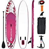 "Goplus Inflatable Stand Up Paddle Board, 6.5"" Thick SUP with Carry Bag, Adjustable Paddle, Bottom Fin, Hand Pump, Non-Slip Deck, Leash, Repair Kit (Pink, 11 Ft)"