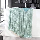 GONAAP Faux Fur Throw Blanket Decorative Super Soft Fuzzy Shaggy Luxurious Cozy Plush Fluffy Long Hair Comfy Microfiber Fleece Reversible for Coach Bed Chair Sofa Ice Blue 50' 60'