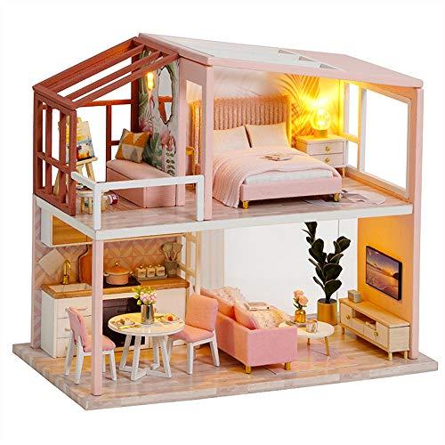 Fsolis Casa de Muñecas en Miniatura de Bricolaje con Mueble, Casa en Miniatura de Madera 3D con Cubierta Antipolvo, Kit de Regalo Creativo de Casas para Muñecas QL03