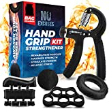 Grip Strength Trainer Kit (5 Piece Set), Hand Grip Strengthener Kit, Hand Strengthener & Grip Strength Kit - Hand Exerciser Grip Strengthener Kit, Grip Trainer & Hand Grips for Strength with Carry Bag