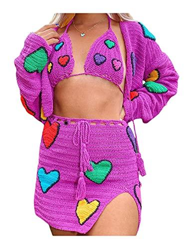 Y2K E-Girl - Mini falda de punto floral para mujer con bordado de flores y falda de ganchillo Streetwear