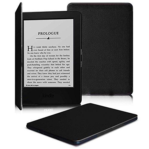 Fintie SlimShell Funda para Kindle 7ª Generación (2014) - La Más Delgada y Ligera Carcasa de Cuero Sintético con Función de Auto-Reposo/Activación, Negro
