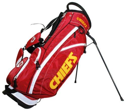 Team Golf NFL Kansas City Chiefs Fairway Golf Stand Bag, Lightweight, 14-way Top, Spring Action Stand, Insulated Cooler Pocket, Padded Strap, Umbrella Holder & Removable Rain Hood