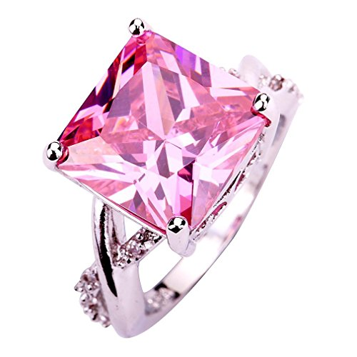 YAZILIND Pink Stone Ring Bridal Wedding Stainless Steel Rhinestone Band Jewelry for Women Size7
