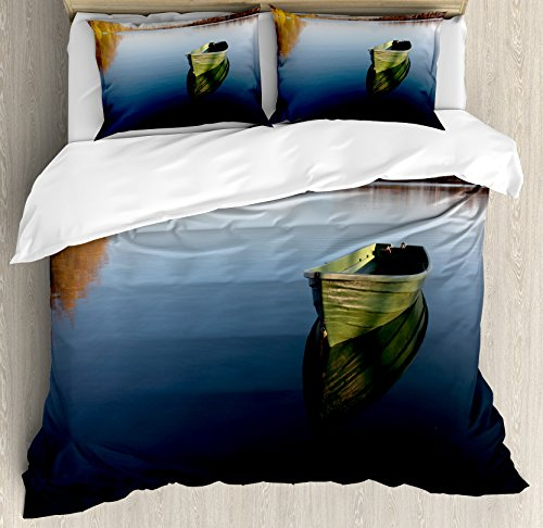 Lake House Decor Duvet Cover Set by Ambesonne, Single Fishing Boat on the Lake Being Alone Theme in Still Calm Waters Life Artprint, 3 Piece Bedding Set with Pillow Shams, Queen / Full, Green Blue