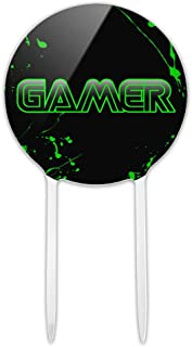 GRAPHICS & MORE Acrylic Gamer Paint Splatter Gaming Geek Cake Topper Party Decoration for Wedding Anniversary Birthday Graduation