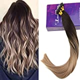 LaaVoo 22Pouce 1G Extensions a Froid Cheveux Naturel Nano Tips Balayage Brun Fonce #2...
