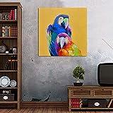 Dibujado a Mano Animales Arte Hermoso Loro Pintura al óleo Banksy Lienzo Decor Pintura Hogar Pared Decoración Colorido Cuadro,Noframe,40x40cm