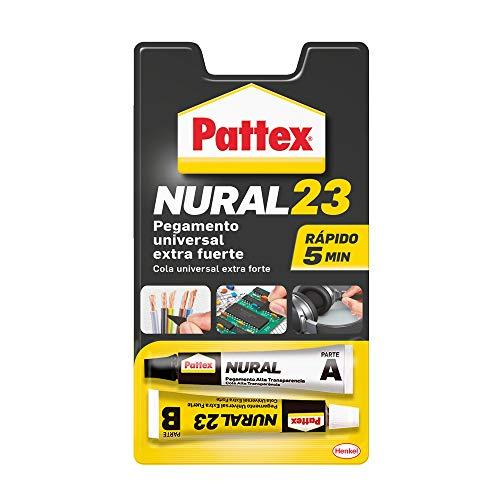 Pattex Nural 23 Pegamento universal extra fuerte, adhesivo extrafuerte para múltiples materiales, pegamento resistente a agua, aceite, disolventes y más, 2 x 11 ml