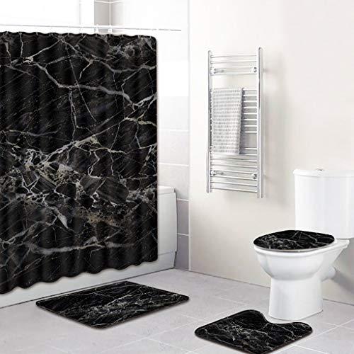 Xmansky Abstrakte Kunst-Stil Duschvorhänge Badematten Set 4tlg, Badgarnitur Badezimmer Matte Set Dusch Bade Matte Vorleger Teppich für Schwimmbad Toilet