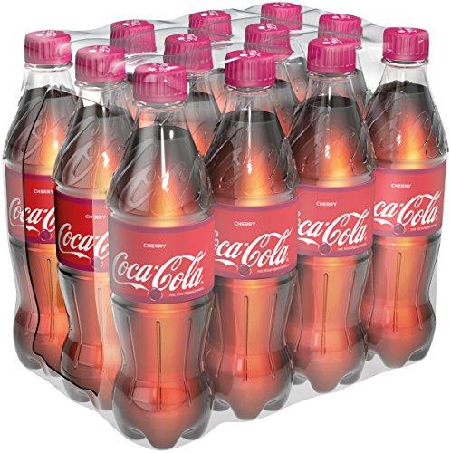 Coca-Cola Cherry, Fruchtiges Erfrischungsgetränk in handlichen Flaschen mit originalen Coca-Cola Kirschgeschmack, EINWEG Flasche (12 x 500 ml)