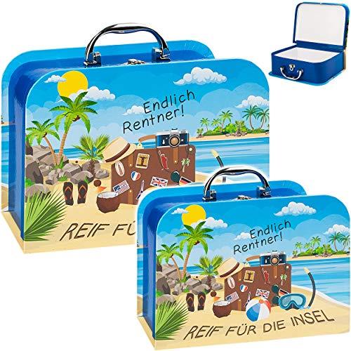 alles-meine.de GmbH Koffer / Kinderkoffer - MITTEL - Rentner - Reif für die Insel - 23 cm - ideal für Spielzeug und als Geldgeschenk - Mädchen & Jungen - Pappkoffer - Puppenkoffe..