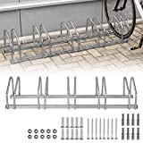 LZQ Portabicicletas con Múltiples Asientos de Metal, Ahorro de Espacio en el Piso y en la Pared, Adecuado para Múltiples Ocasiones (para 5 Bicicletas)