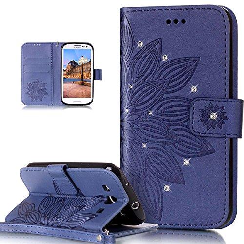 Galaxy S3caso, Galaxy S3Neo Case, Galaxy S3/S3Neo Funda, ikasus), diseño de calavera de flores campanula pattern shiny Glitter Crystal Rhinestone Diamante piel sintética plegable tipo cartera, fund