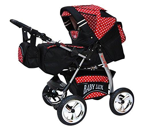 Lux4kids Trío Cochecito 3 in 1 Silla de paseo ruedas fijas + capazo + silla para coche VIP Hecho en Europa Accesorios opcionales iCaddy negro & rojo & puntos con canciller en polar 2in1+sombrilla