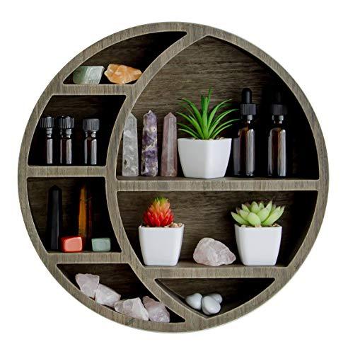 Crescent Moon Shelf, Crystal Display Shelf, Moon Shelf for Crystals and Essential Oils, Crystal Shelf, Essential Oil Shelf, Boho Wall Shelf for Living Room, Office, Bedroom, Nursery, and Bathroom