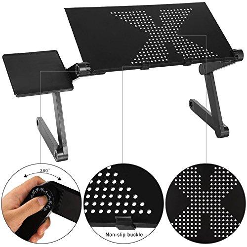 360Degree ajustable soporte de mesa para ordenador portátil, mesa para portátil plegable con libre ratón Junta (negro)