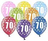 Libetui 10 kunterbunte Luftballons Nummer 70 Metallic 30cm Deko zum 70. Geburtstag Party Happy Birthday Dekoration 70 Jahre