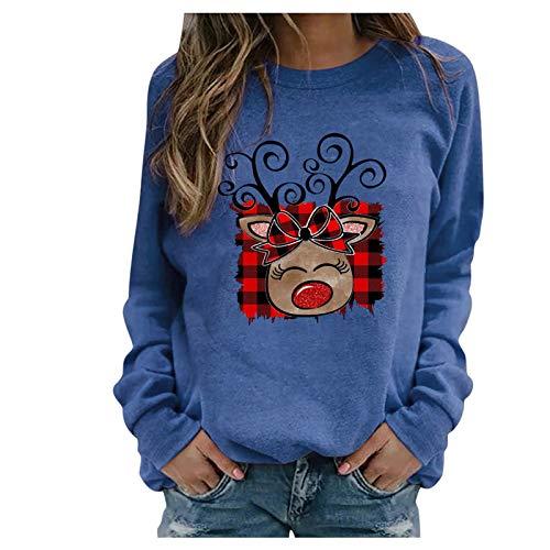 SicongHT Weihnachten Pullover Damen, Frauen Weihnachtspulli Bluse Rudolph Rentier...